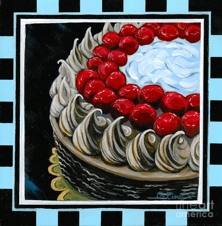 Dessert Painting - Chocolate Cake With A Cherry On Top by Gail Finn