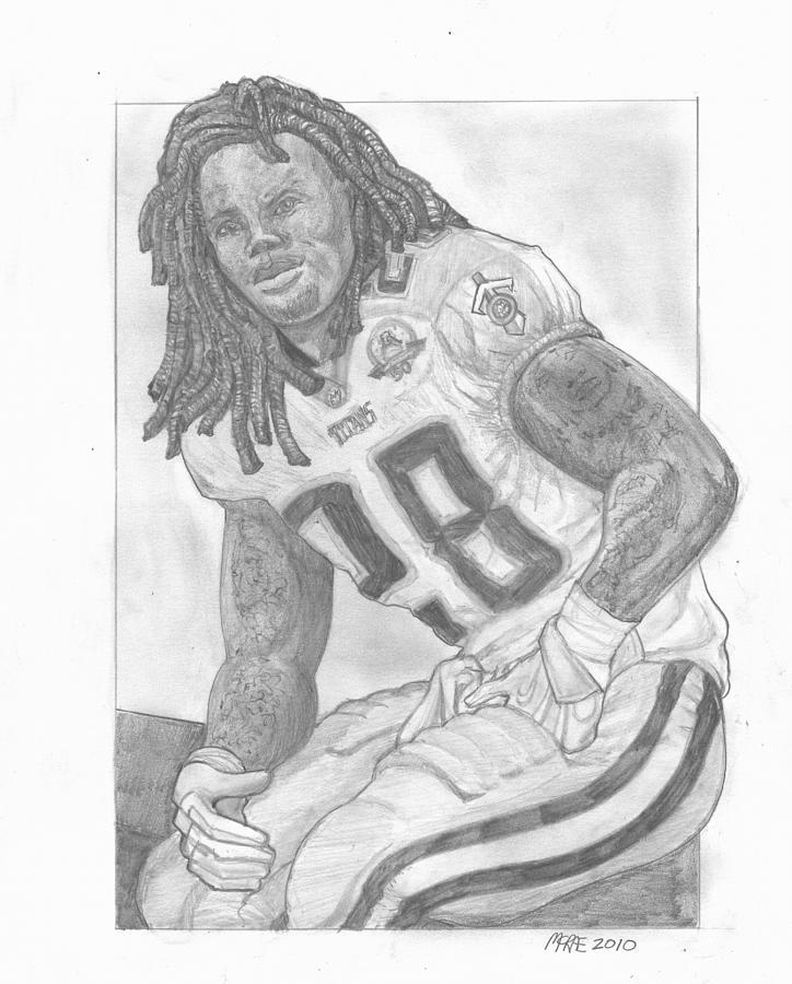 Football Drawing - Chris Johnson by Paul McRae