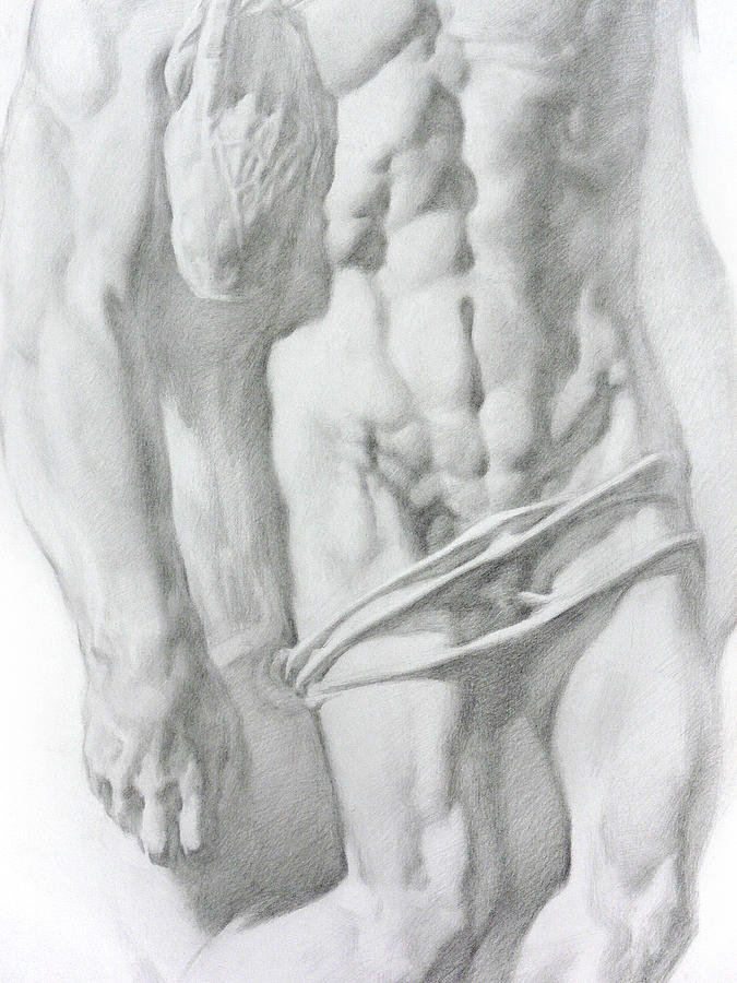 Nude Drawing - Christ 1b by Valeriy Mavlo