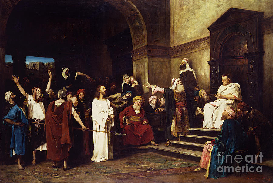 Christ Painting - Christ Before Pilate by Mihaly Munkacsy
