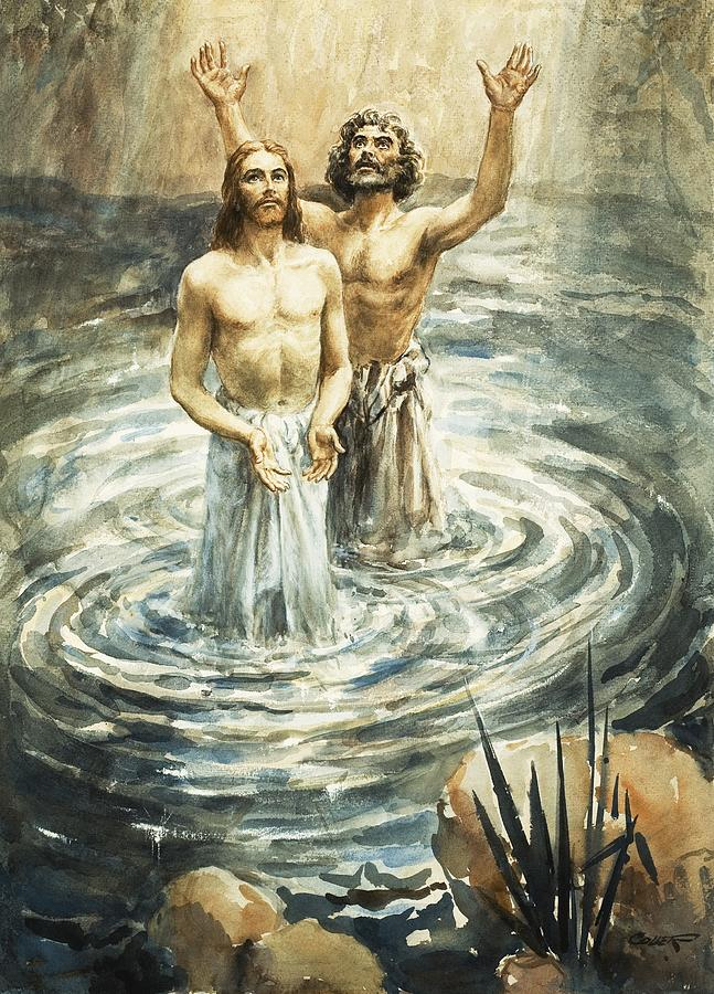Christ; Jesus; Bible; John The Baptist; Water; Ripples Painting - Christ Being Baptised by Henry Coller