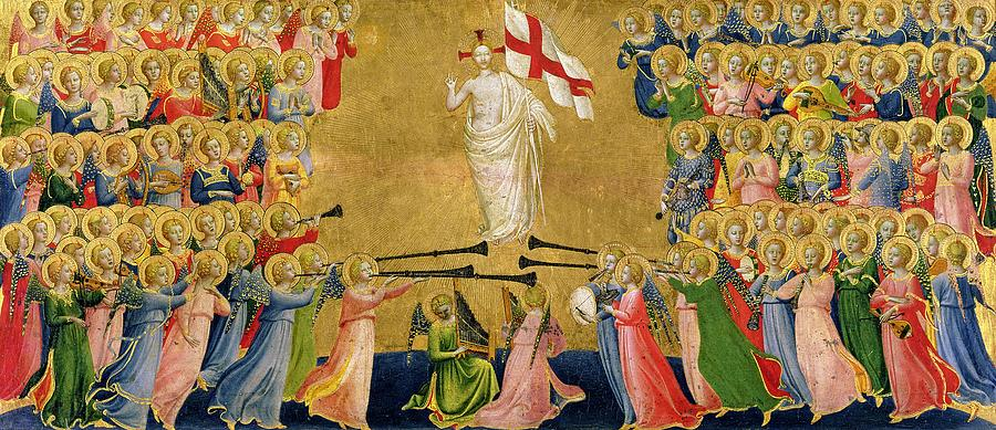 Altarpiece; Heaven; Angels; Concert; Music; Instruments; Trumpet; St. Michael; Halo; Archangel; Renaissance; Banner; Jesus; Fra Painting - Christ Glorified In The Court Of Heaven by Fra Angelico