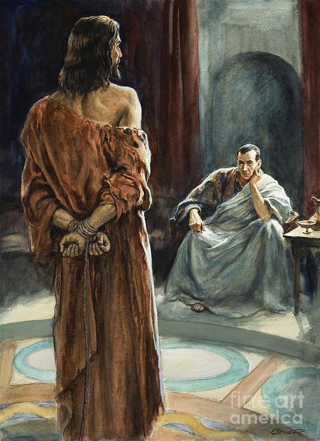 Christ; Pilate; Trial; Roman; Toga; Governor; Bible; Jesus; Rome Painting - Christ In Front Of Pontius Pilate by Henry Coller