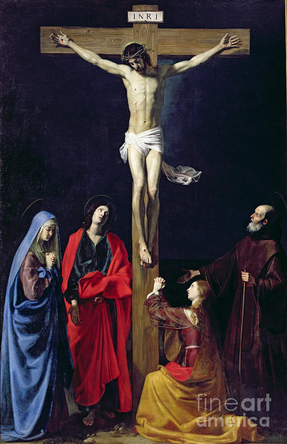 Christ Painting - Christ On The Cross With The Virgin Mary Magdalene St John And St Francis Of Paola by Nicolas Tournier