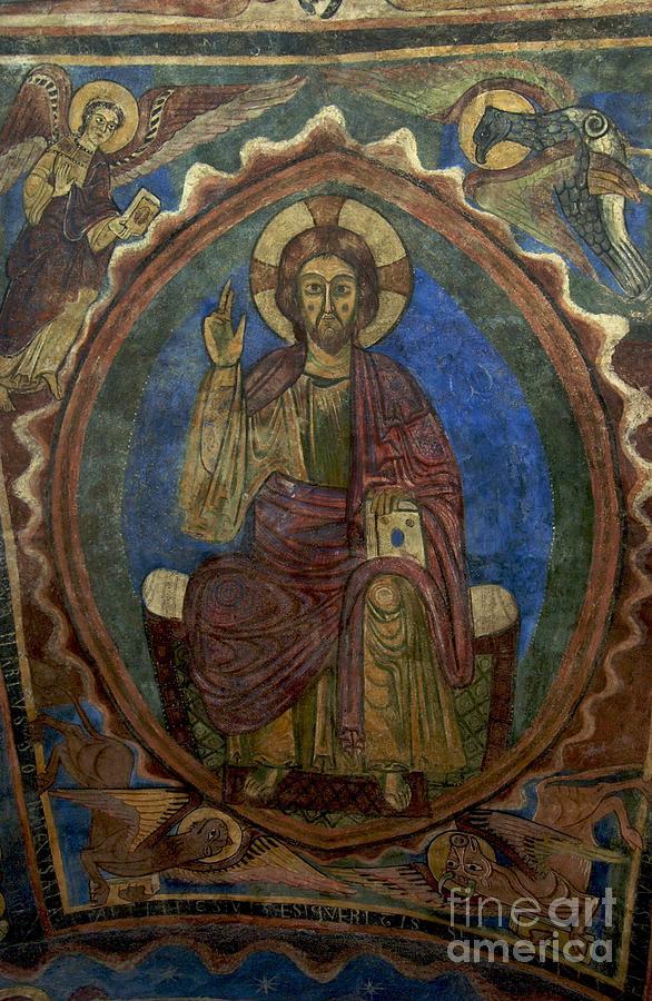 Art Roman Photograph - Christ Pantocrator Fresco. Basilica Saint-julien. Brioude. Haute Loire. Auvergne. France. by Bernard Jaubert