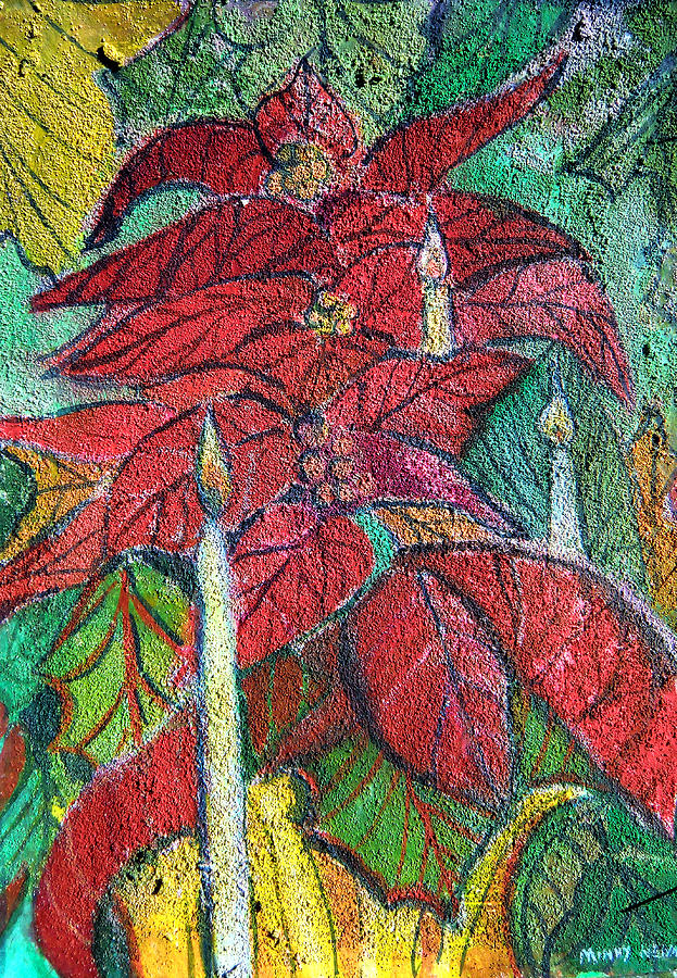 Poinsettia Painting - Christmas Candlelight by Mindy Newman