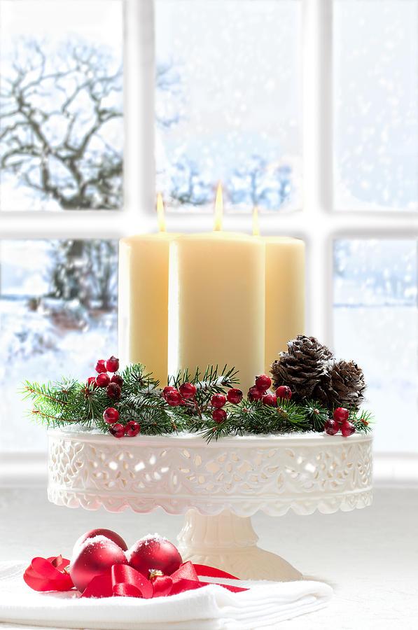 Christmas Photograph - Christmas Candles Display by Amanda Elwell