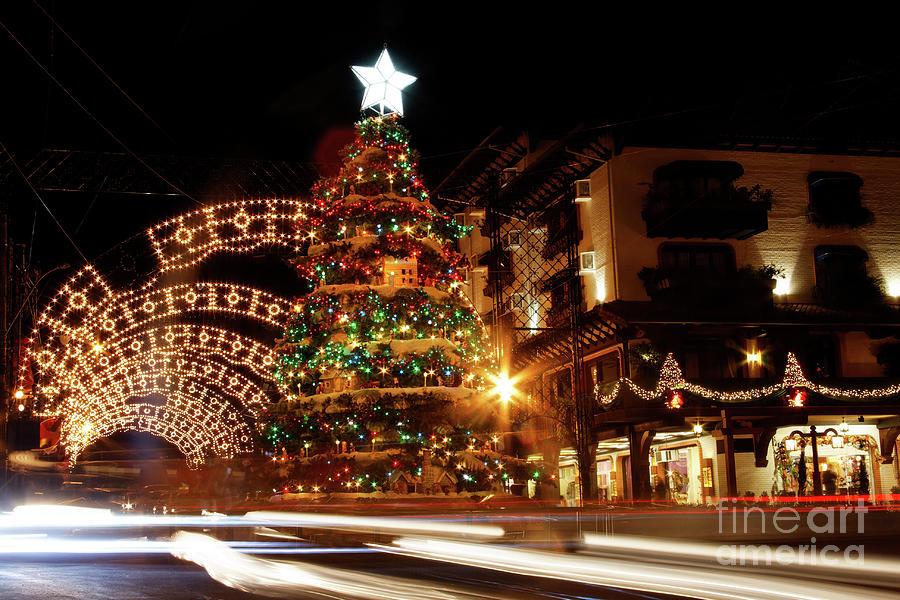 Christmas decoration at night gramado photograph by for American christmas decoration