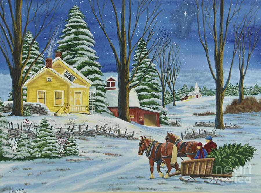 Winter Scene Paintings Painting - Christmas Eve In The Country by Charlotte Blanchard