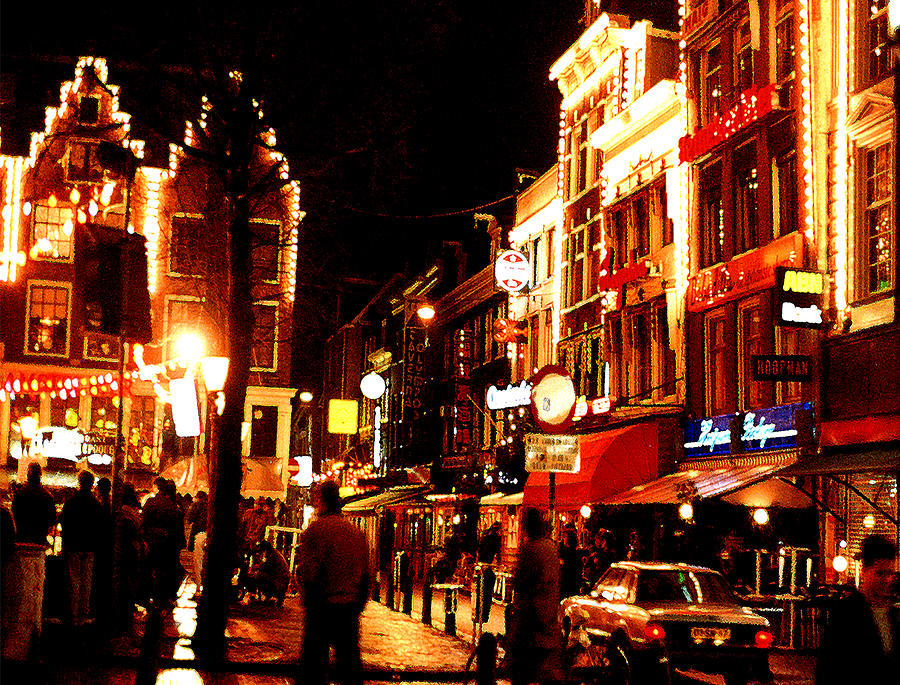 Night Photograph - Christmas In Amsterdam by Nancy Mueller