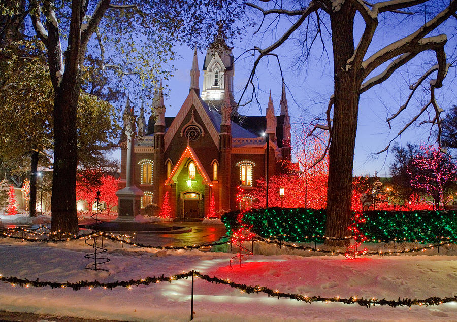 Christmas Photograph - Christmas Lights At Temple Square by Utah Images