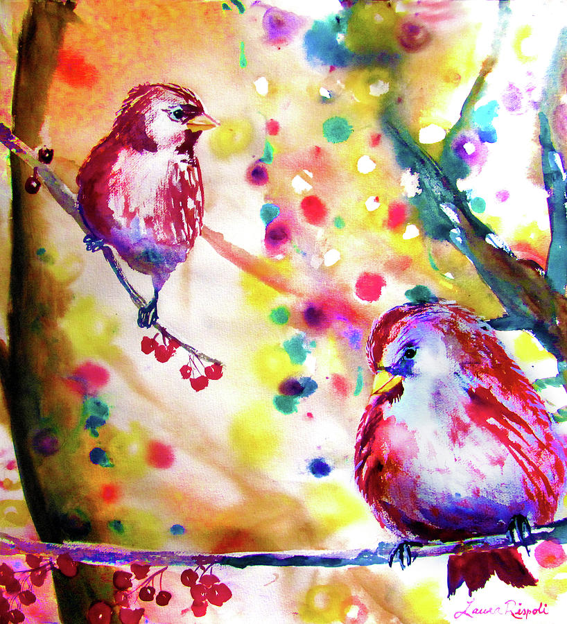 Birds Painting - Christmas Lights Through The Trees by Laura Rispoli