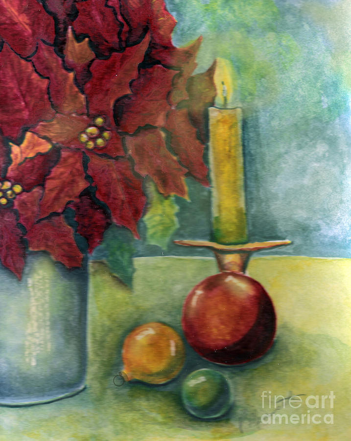 Christmas still life painting by patricia merewether