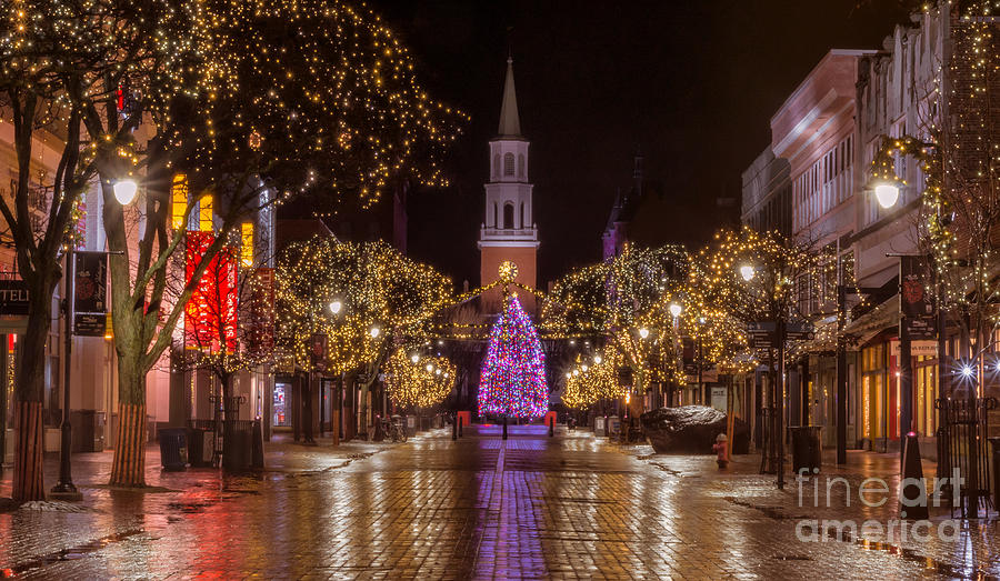 Christmas Decorations In Vermont : Christmas time on church street photograph by new england