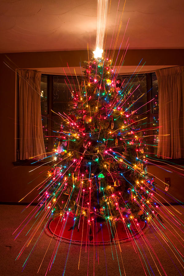 Abstracts Photograph - Christmas Tree Light Spikes Colorful Abstract by James BO  Insogna
