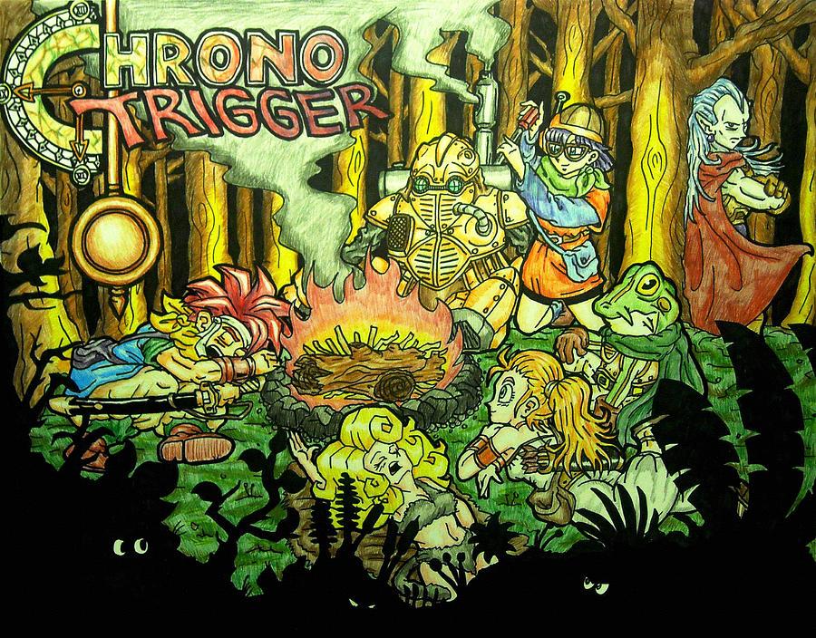 Nintendo Drawing - Chrono Trigger Campfire by Paul Tokach