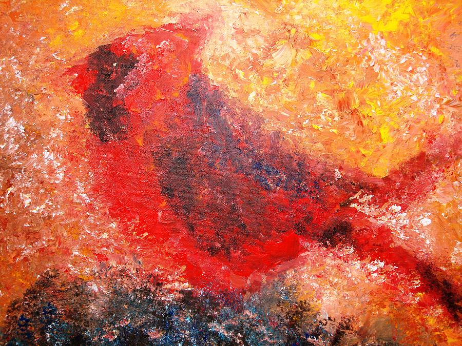 Bird Painting - Chubby Cardinal by Laura  Grisham