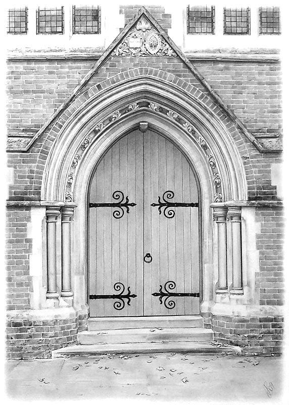 Church Door Drawing By Anna Shipstone