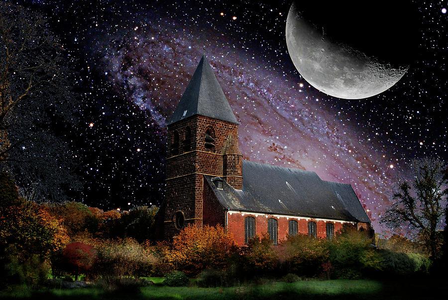 Moon Photograph - Church Langdorp by Sandy Viktor Nys