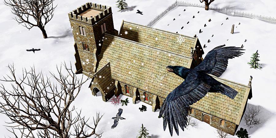 Ravens Digital Art - Church Ravens by Peter J Sucy