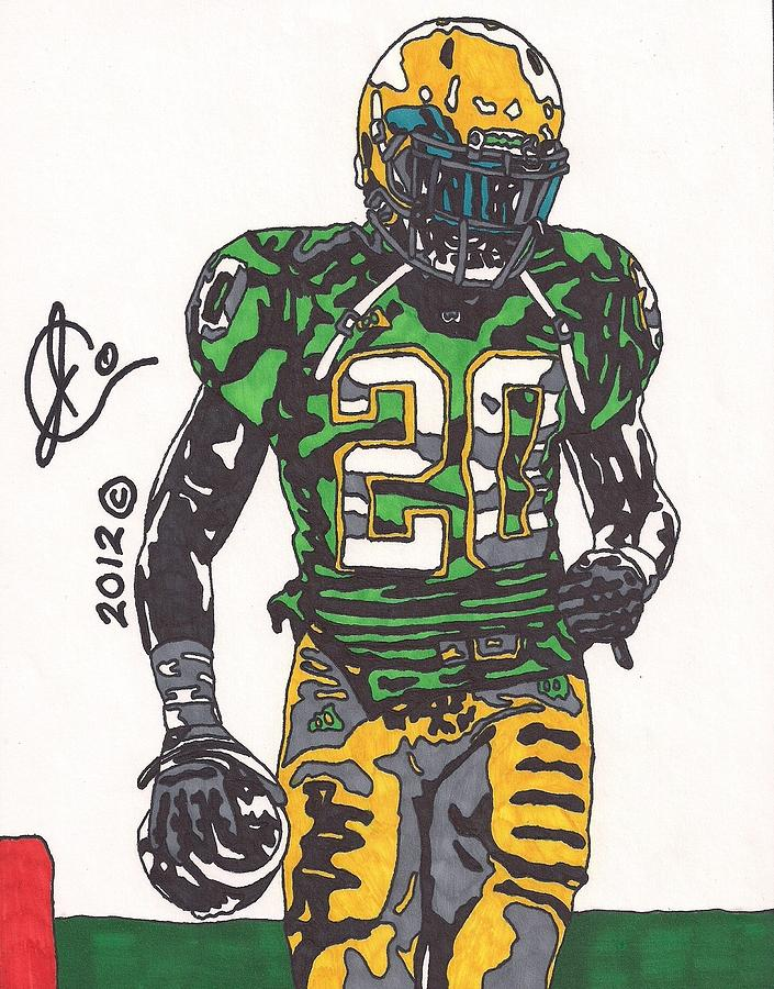 American Football Art Drawing - Cierre Wood by Jeremiah Colley