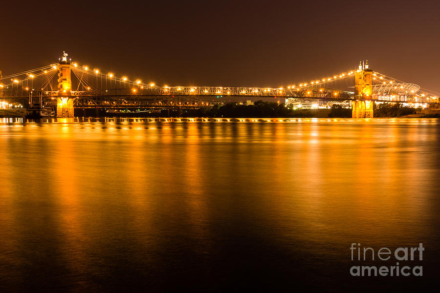 2012 Photograph - Cincinnati Roebling Bridge At Night by Paul Velgos