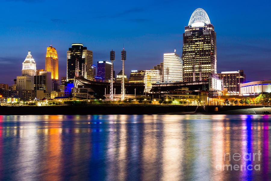 Cincinnati Skyline At Night Photograph