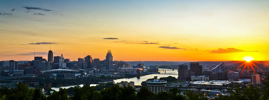 Cincinnati Ohio Sunrise Skyline City Panoramic Sunburst Orange Blue Photograph - Cincinnati Sunrise II by Keith Allen