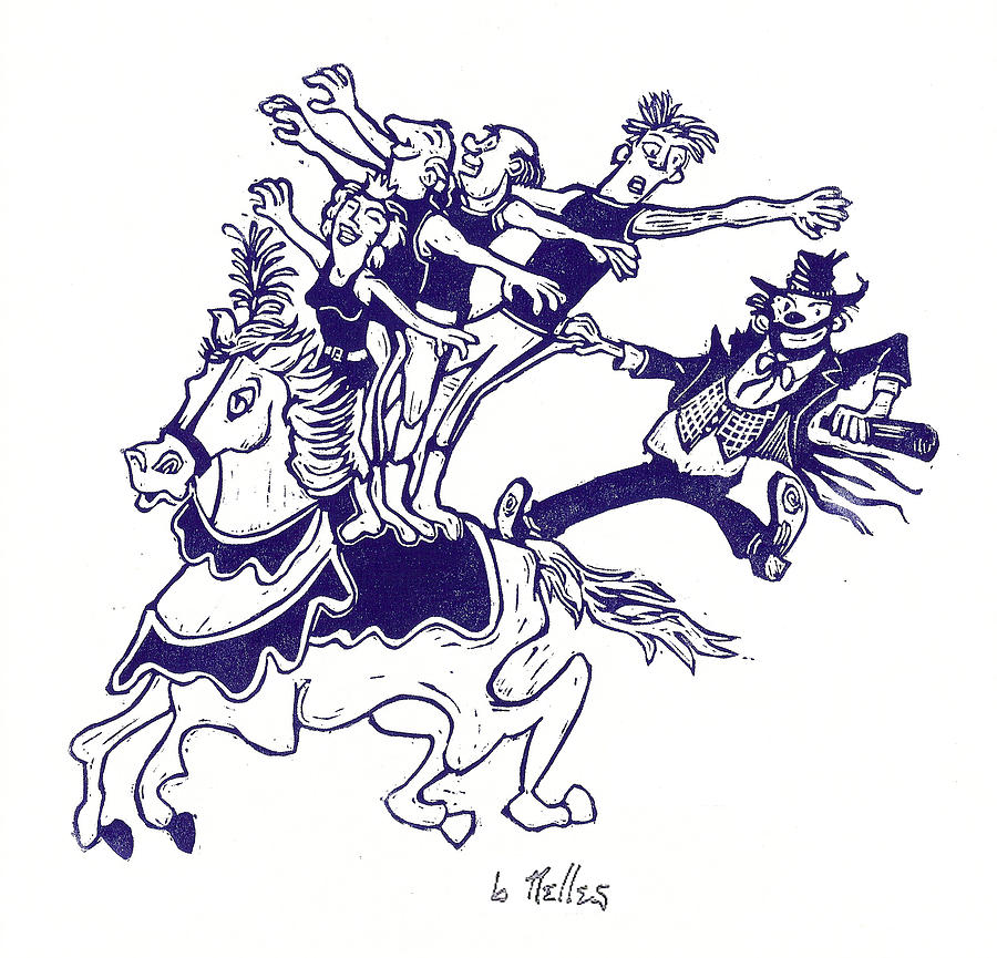 Circus Acrobats On Horse With Clown Painting