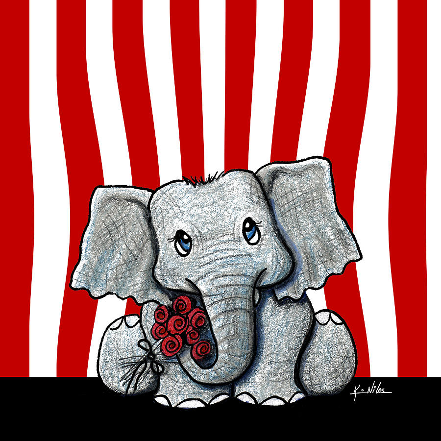 Circus Drawing - Circus Elephant by Kim Niles
