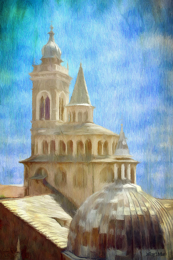 Above Painting - Citta Alta From Above by Jeff Kolker