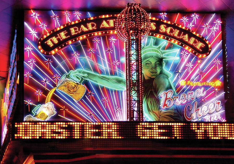 Savad Photograph - City - Vegas - Ny - The Bar At Times Square by Mike Savad