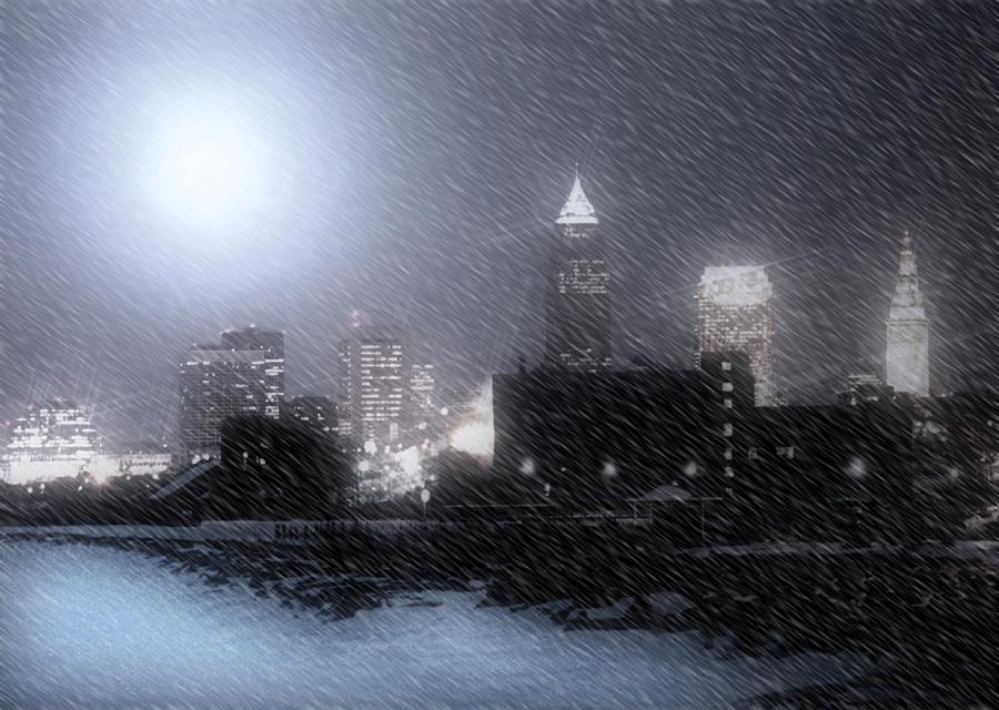 Cleveland Photograph - City Bathed In Winter by Kenneth Krolikowski