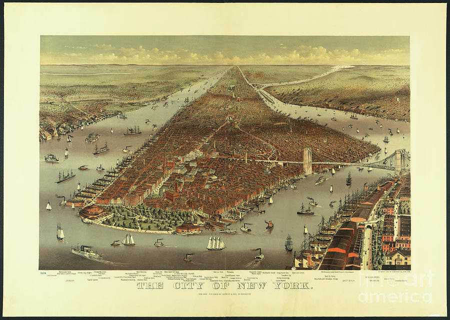 City Of New York In 1884 Photograph