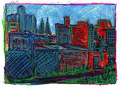 Drawing Drawing - City View From Studio by Don Thibodeaux