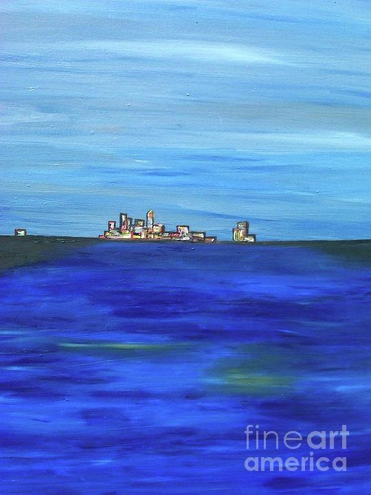 The Artist Renders Images And Imaginations From His Youthful Days In Hawaii. Painting - City View by Jazmine  Gallery