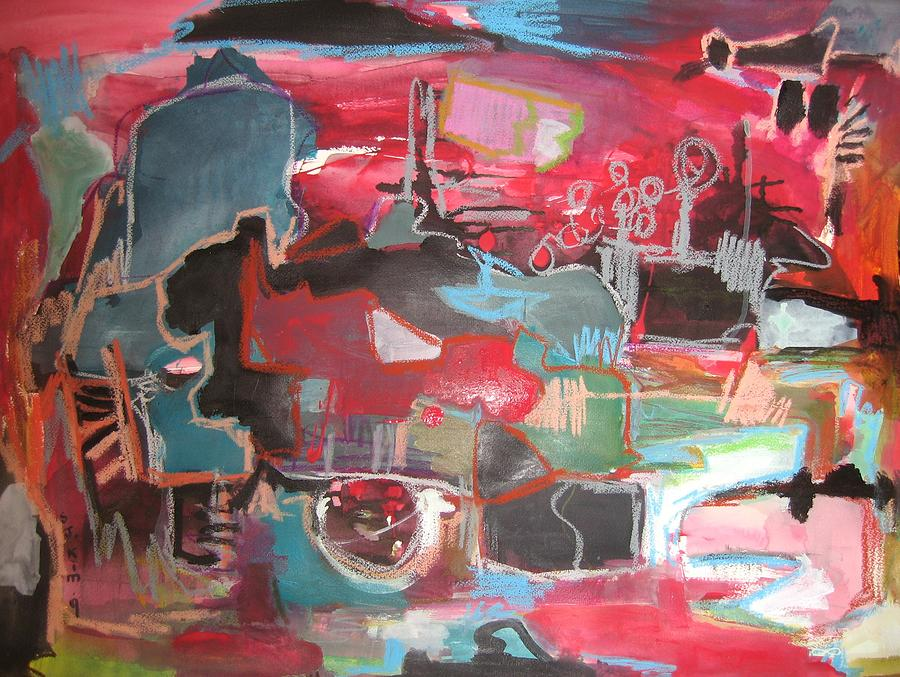 Citysacpe at twilight original abstract colorful landscape for Original abstract paintings for sale