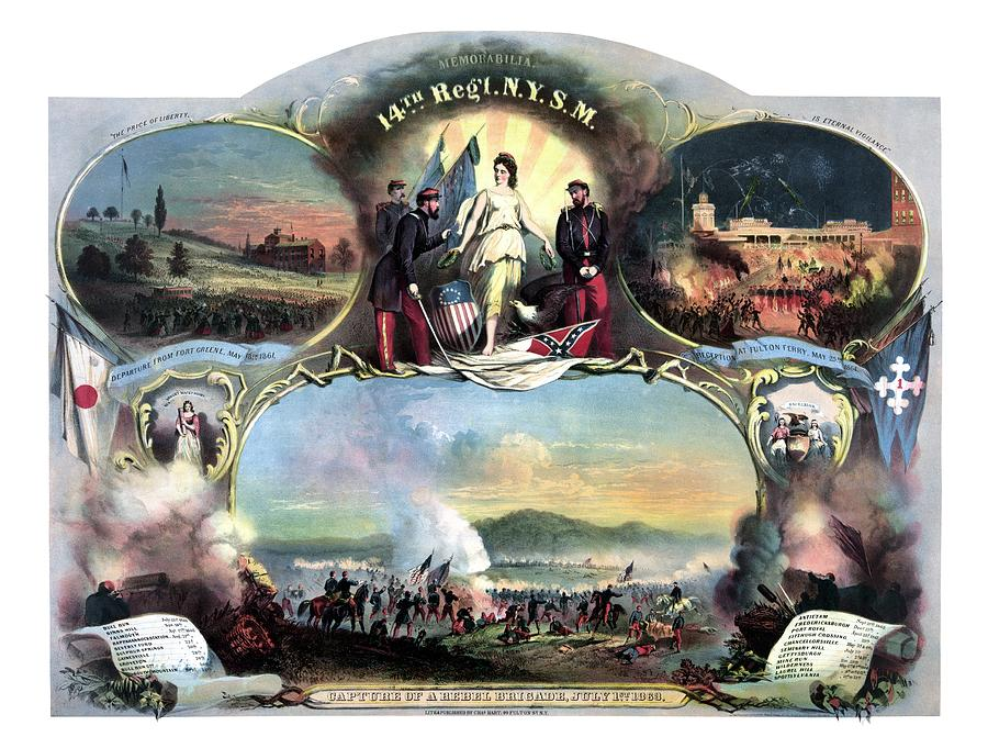 Civil War Painting - Civil War 14th Regiment Memorial by War Is Hell Store