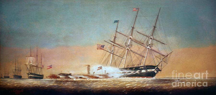 Civil War Merrimack 1862 Painting
