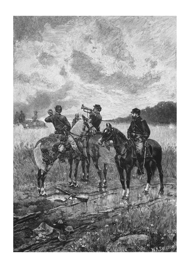 Civil War Soldiers On Horseback Drawing