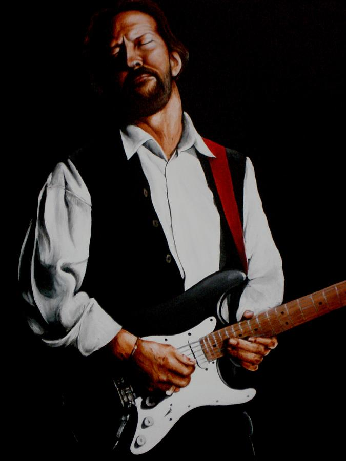 Clapton Painting - Clapton With Red Strap by Richard Klingbeil