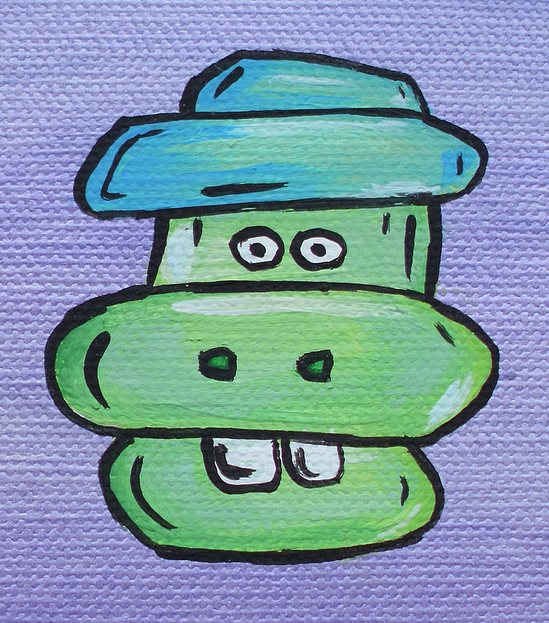 Clarence Farmer South Southern Puppy Dragon Tractor Mashed Potato Buck Toothed Cute Adorable Straw Hat Purple Green Teal Blue Adorable Cartoon Character Portrait Toon Painting - Clarence by Jera Sky