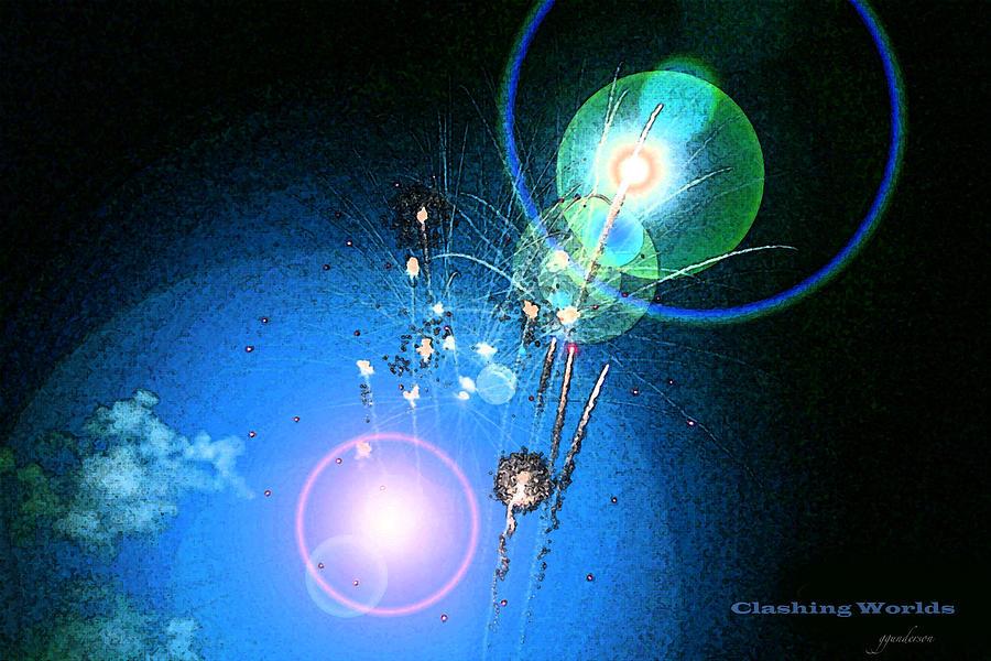 Fireworks Photograph - Clashing Worlds by Gary Gunderson