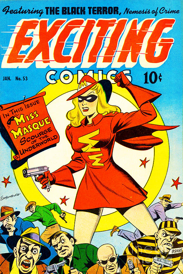 Vintage Comic Book Cover Art : Classic comic book cover exciting comics miss masque