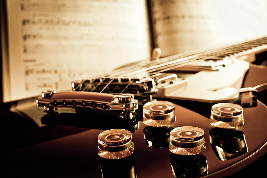 Horizontal Photograph - Classic Guitar Still Life With Notes by A Driempixel Photo