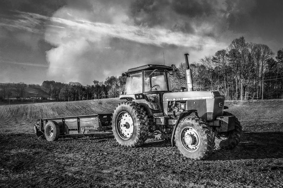 Classic John Deere Tractor In Black And White Photograph ...