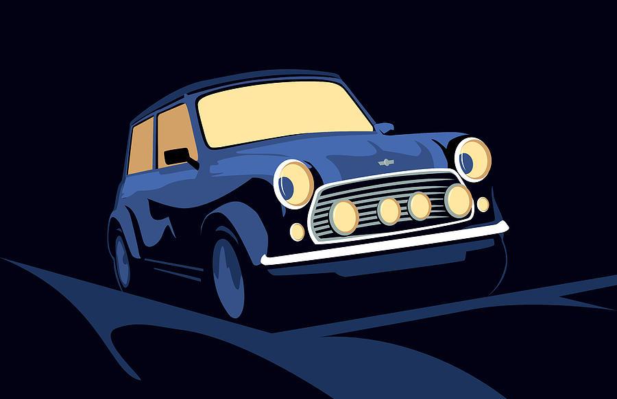 Mini Cooper Digital Art - Classic Mini Cooper In Blue by Michael Tompsett