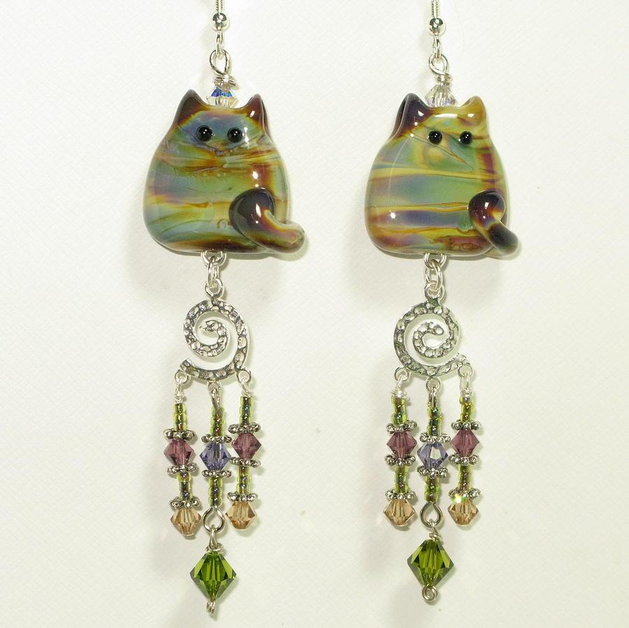 Jewelry Glass Art - Classy Cats Dangle Earrings by Cheryl Brumfield Knox