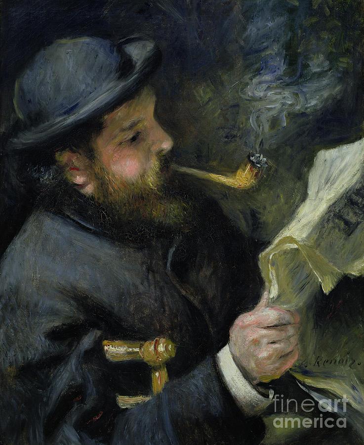 Claude Painting - Claude Monet Reading A Newspaper by Pierre Auguste Renoir