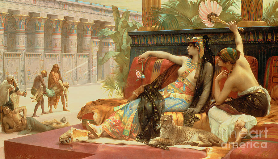 Cleopatra testing poisons on those condemned to death for Egyptian fresco mural painting